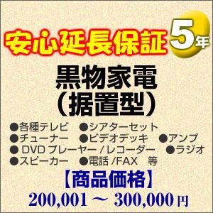 【クリックで詳細表示】5年間延長保証 黒物家電(据置型) 200001~300000円 :H5-KS-159353