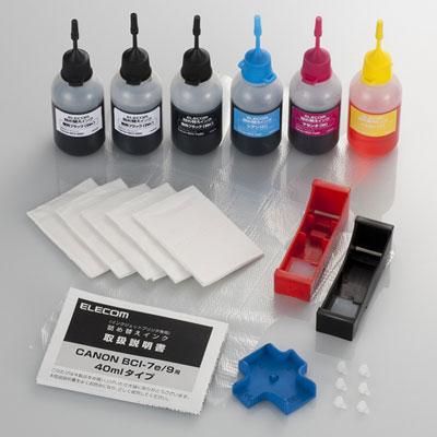 【クリックで詳細表示】詰め替えインク/キヤノン/BCI-7E・9BK対応/5色セット/4回分 :THC-MP500SETN